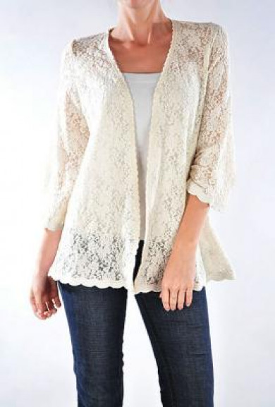 Jacket - Courtship Adoration 3/4 Sleeve Lace Open Jacket in Cream