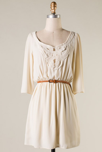 Dress - Inner Peace Crochet Detailed 3/4 Sleeve Dress in Cream