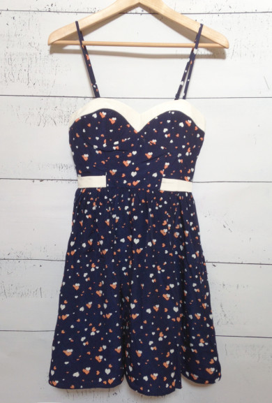 Dress - Cupid's Smile Sweetheart Heart Print Dress in Navy/White