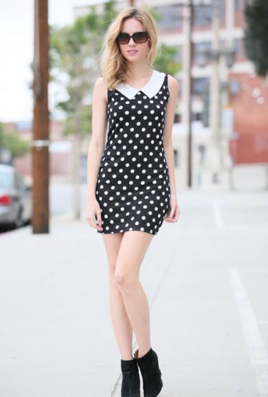 Dress - New Girl Polka Dot Sleeveless Mini Dress in Black