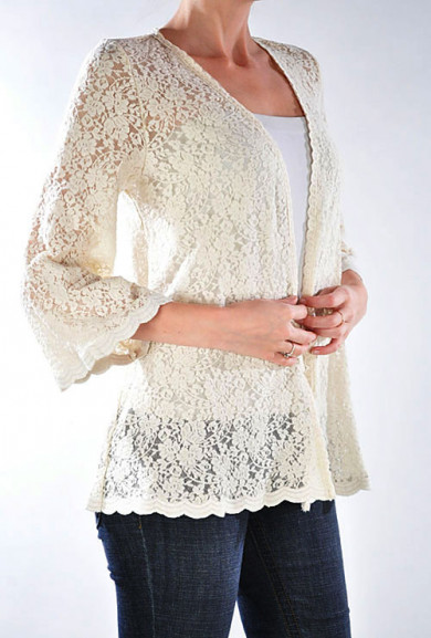 Jacket - Courtship Adoration 3/4 Sleeve Lace Open Jacket in Cream