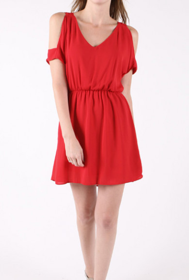 Dress - Heart Vacancy Cutout Shoulder V-Neck Dress in Passionate Red