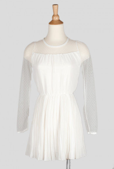 Dress - Angel of Music White Mesh Panel Accordion Pleat Dress