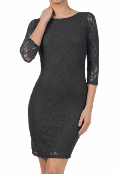 Dress - Date Night 3/4 Sleeve Lace Bodycon Dress in Black