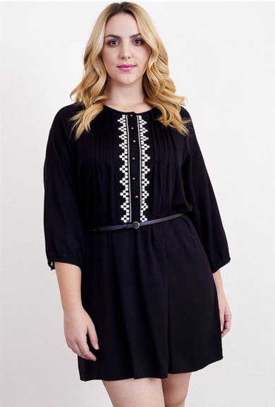 Dress - Ardent Courtship 3/4 Sleeve Embroidered Peasant Dress in Black