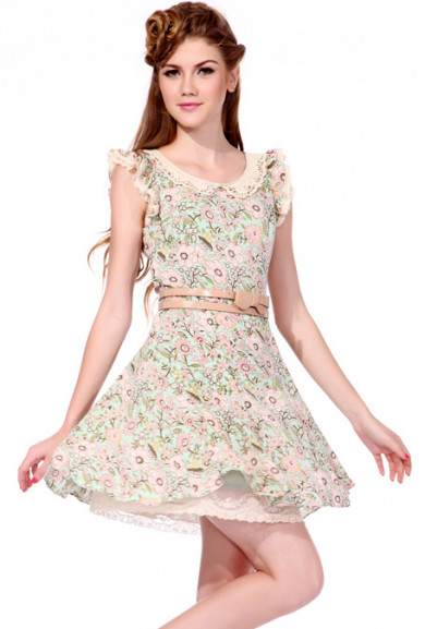 Dress - Romance Blossoms Floral Print Ruffle Sleeve Lace Collar Dress