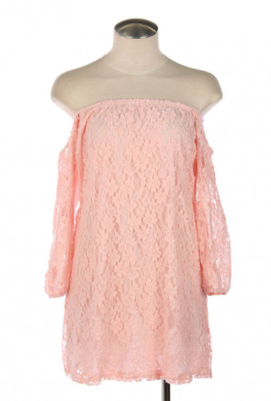 Dress - Dream Sequence Lace Off Shoulder Shift Dress in Pink