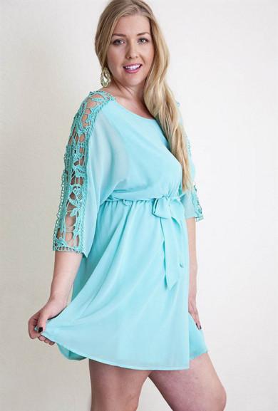 Dress - Hopeless Romantic Crochet Sleeve Blouson Dress in Mint