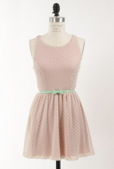 Dress - Double Date Sleeveless Lace Racerback Skater Dress in Faint Pink