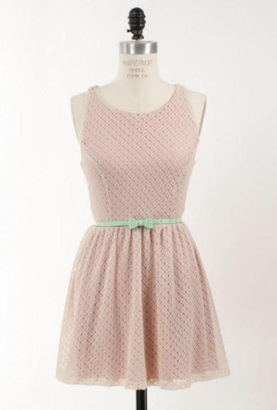 Dress - Double Date Sleeveless Lace Racerback Skater Dress in Faint Pink