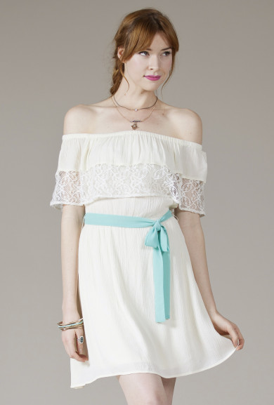 Dress - Angelic Presence Off the Shoulder Lace Dress in White