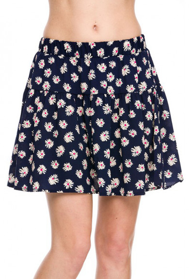 Skirt - Cutesy Daisy Floral Print Skater Skirt in Navy