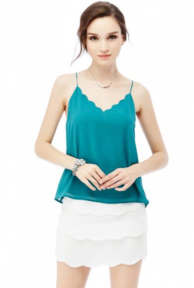 Tops -Dainty Habits Scallop V-neck Top in Teal