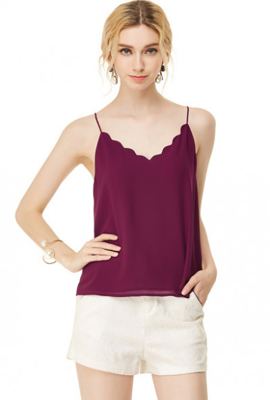 Tops -Dainty Habits Scallop V-neck Top in Wine