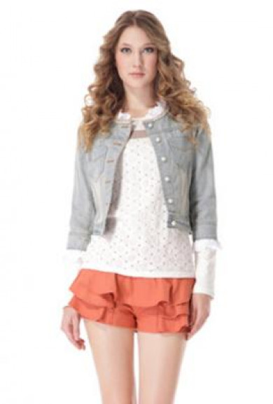Jacket - Damsel in Distress Lace Pearl Trim Denim Jacket