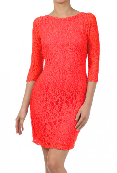 Dress - Date Night 3/4 Sleeve Lace Bodycon Dress in Coral Red