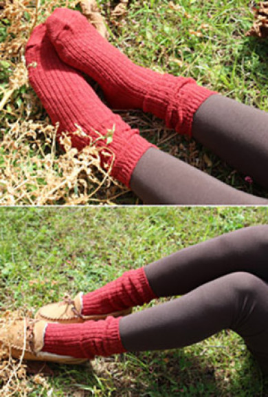 Socks - Day by Day Chunky Burgundy Knit Socks