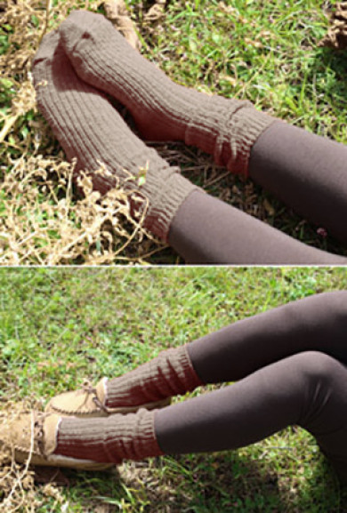 Socks - Day by Day Chunky Taupe Knit Socks