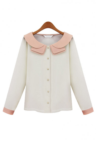 Blouse - Debutante Dilemma Contrast Color Collar Blouse