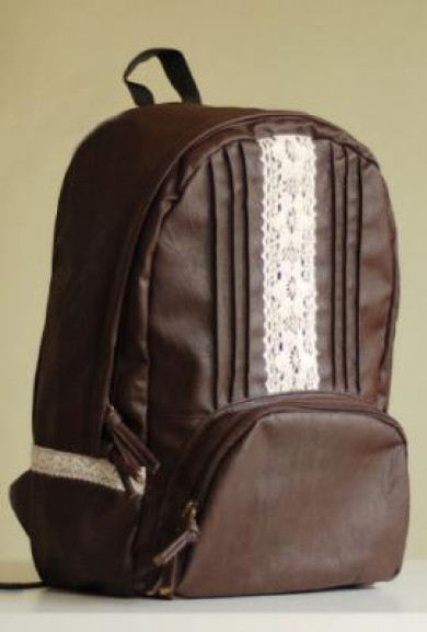 Backpack - Coffee Break Vintage Crochet Lace and Pintuck Pleated Dark Roast Backpack