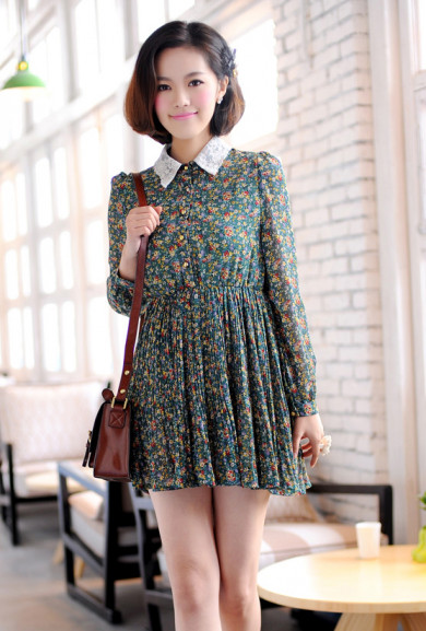 Dress - Dollhouse Whimsy Long Sleeve Floral Dress in Forest Green