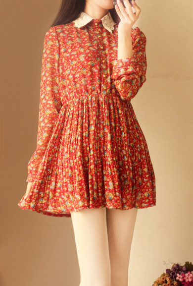Dress - Dollhouse Whimsy Long Sleeve Floral Dress in Rouge