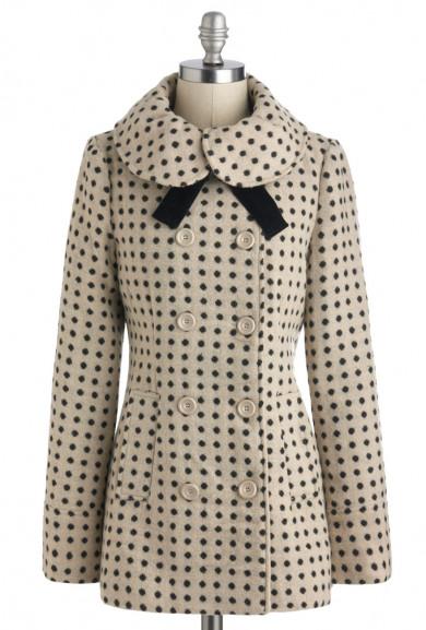 Coat - Home Sweet Home Dot Print Coat with Velvet Neck Tie