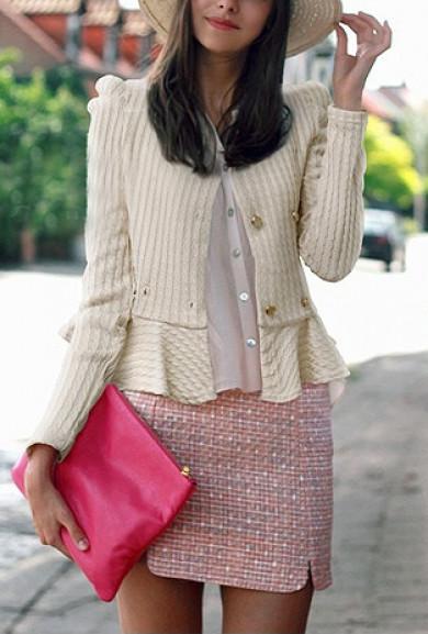 Jacket - Hamptons Manor Ivory Double Breasted Jacquard Weave Peplum Jacket