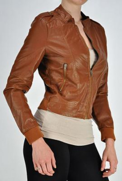 Jacket - Downtown Cityscape Faux Leather Jacket in Camel