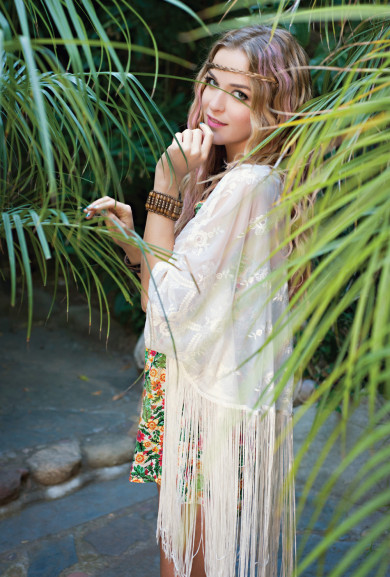Cardigan - Dream Catcher Tassel Lace Cardigan in Ivory