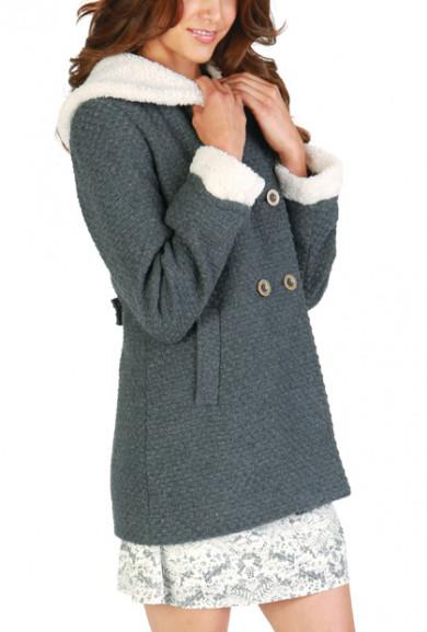 Coat - Before Sunrise Sherpa Coat in Earl Gray