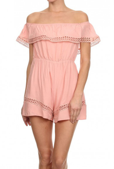 Romper - Easter Brunch Off Shoulder Romper in Pink