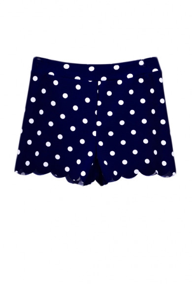 Shorts -On the Edge Polka Dot Print Scallop Hem Shorts in Navy Blue