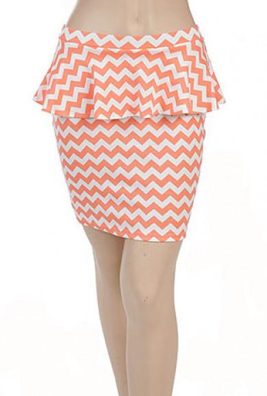 Skirt - Elevator Gossip Chevron Print Peplum Skirt in Coral