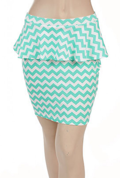 Skirt - Elevator Gossip Chevron Print Peplum Skirt in Mint