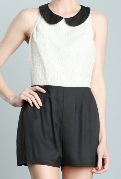 Romper - Eloquent Discourse Lace Peter Pan Collar Romper in Cream/Black