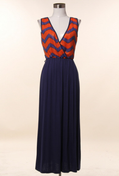Dress - Embarkation Day Chevron and Solid Pattern Block Maxi Dress in Rust/Navy