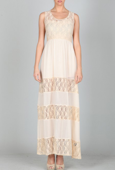 Dress - Ethereal Beings Lace Tiered Maxi Dress in Cream