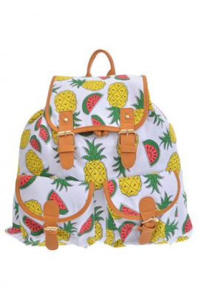 Backpack- Exotic Sweets Pineapple and Watermelon Print Backpack