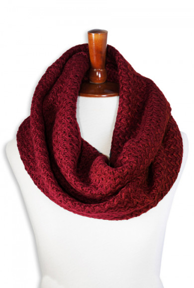 Scarf - Fall Semester Knitted Infinity Maroon Scarf