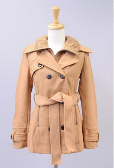 Coat - Family Affair Double Breasted Ribbed Collar Coat in Camel