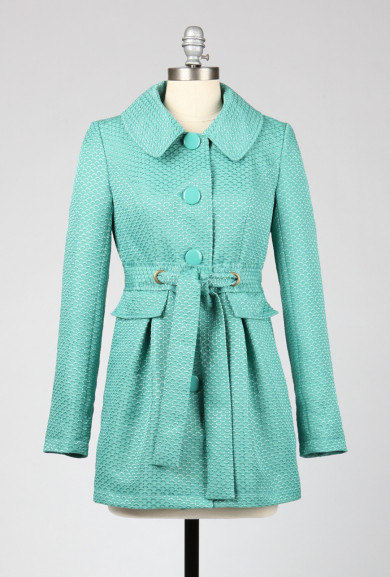 Coat - Hasty Departure Fan Pattern Tie Waist Coat in Aqua