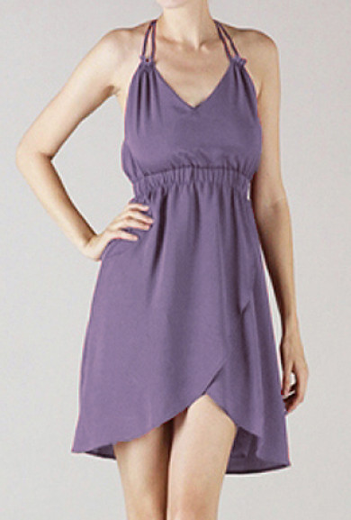 Dress - Farewell Toast Double Strap V Neck Tulip Dress in Mauve