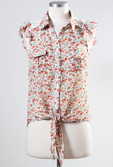 Blouse - Field Trip Adventures Ditsy Floral Print Button Ruffle Sleeve Blouse in Cream