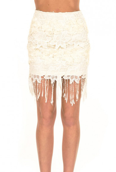Skirt - Flapper Soiree Fringe Lace Skirt in Cream