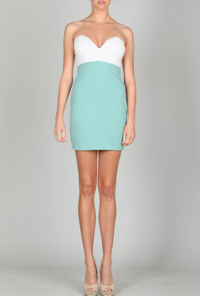 Dress - Flirtatious Behavior Strapless Plunge Sweetheart Color block Dress