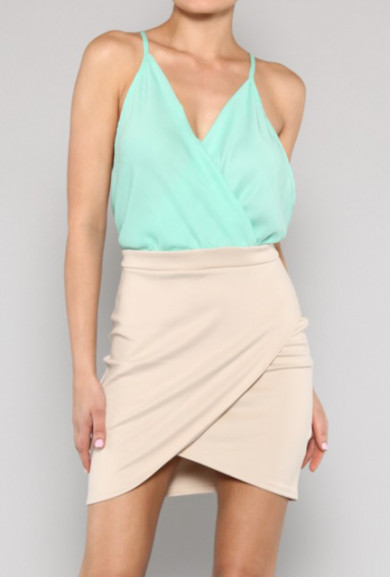 Dress - Flirtatious Socialite Surplice Color Block Mini Dress in Mint/Beige