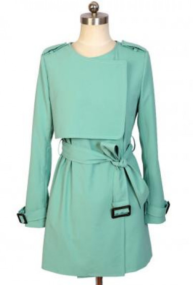 Coat - Fly Away Layered Storm Flap Fitted Trench Coat in Mint Green