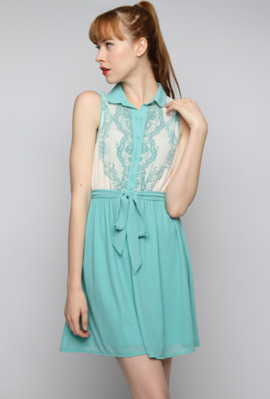 Dress - French District Lace Print Bodice Sleeveless Twofer Dress in Dusty Jade