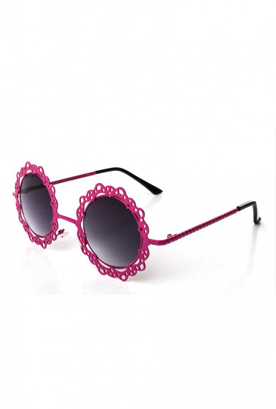 Sunglasses -French Vintage Lace Rim Round Sunglasses Wine